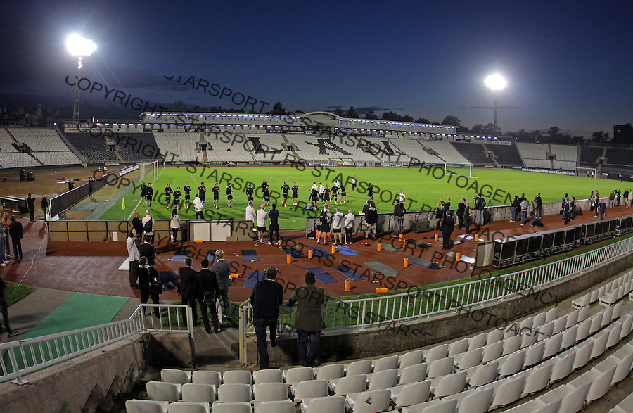 General overview of Partizan stadium during training session prior to the UEFA Europa League football match between Partizan and Tottenham in Belgrade, Serbia on September 17, 2014. credit: Pedja Milosavljevic/SIPA