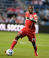 Chicago midfielder Patrick Nyarko (14) controls the ball.  The Chicago Fire tied Chivas USA 1-1 at Toyota Park in Bridgeview, IL on May 1, 2010.