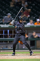 Jason Bourgeois (3) of the Charlotte Knights at bat against the Norfolk Tides at BB&T BallPark on May 2, 2017 in Charlotte, North Carolina.  The Knights defeated the Tides 8-3.  (Brian Westerholt/Four Seam Images)