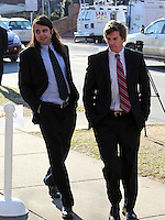 CHARLOTTESVILLE, VA - FEBRUARY 15: Former UVa lacrosse players Ken Clausen, left, and Kevin Carroll, right, testified on the witness stand during the George Huguely trial. Huguely was charged in the May 2010 death of his girlfriend Yeardley Love. She was a member of the Virginia women's lacrosse team. Huguely pleaded not guilty to first-degree murder. (Credit Image: © Andrew Shurtleff