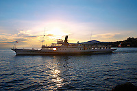 ferry at sunset on Lac Leman (lake Geneva) - Montraux Switzerland