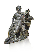 Roman Bronze sculpture of Silenus from atrium of the Villa of the Papyri in Herculaneum, Museum of Archaeology, Italy, white background