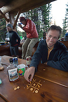 The Highline trail, Alberta and British Columbia, Canada, August 2008. Improvised games at Lake Magog Campground. The Banff Highline trail can be hiked in 7 days and runs through Banff National park as well as Assiniboine Provincial park. Photo by Frits Meyst/Adventure4ever.com