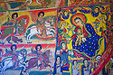21/01/12. Bahir Dar, Ethiopia. Bahir Dar lies on the banks of Lake Tana, Ethiopia's largest lake. Lake Tana is 68km wide nd 73 km long and is dotted with islands, on many of which are monasteries and churches. Picture shows the murals of Ura Kidane Mehret, painted between 100 and 250 years ago, on the inside walls of the monastery, which was founded in the 14th century. Photo credit: Jane Hobson.
