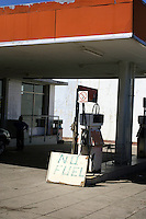A petrol station without fuel. Shortages are common.