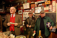 Keswick, Cumbria, England, 23/12/2003..The Blencathra Hunt breakfast at the Twa Dogs pub before fox-hunting in what may be the last legal hunting season in the UK, as Parliament moves to ban hunting with dogs. The Blencathra hunt on foot in the Cumbrian Fells led by Huntsman Barry Todhunter.
