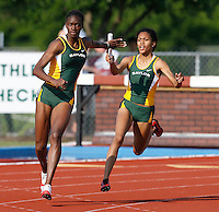 Tiana Hood passing the baton to Katrina Taylor in the 400m Relay. Baylor won with a time of 45.17secs. @ the Michael Johnson Classic held @ Baylor Univ., Waco, Texas on Saturday, April 21, 2007. Photo by Errol Anderson, The Sporting Image.