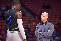 NWA Democrat-Gazette/J.T. WAMPLER Seton Hall's Angel Delgado talks with head coach Kevin Willard Thursday Mar. 16, 2017 at the Bon Secours Wellness Arena in Greenville, South Carolina. The Hogs take on Seton Hall Friday in the first round of the NCAA Tournament.
