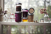 A selection of jams from This & That Jam, in their home kitchen, Chapel Hill, NC, November 26, 2011. ..Photo by D.L. Anderson