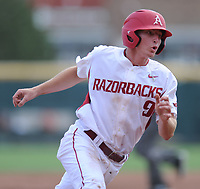 NWA Democrat-Gazette/ANDY SHUPE<br />Arkansas shortstop Jax Biggers advances to third against Georgia Saturday, April 15, 2017, during the second inning at Baum Stadium in Fayetteville. Visit nwadg.com/photos to see more photographs from the game.