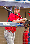 7 March 2015: St. Louis Cardinals catcher Carson Kelly awaits the start of batting practice prior to a Spring Training game against the Washington Nationals at Space Coast Stadium in Viera, Florida. The Cardinals fell to the Nationals 6-5 in Grapefruit League play. Mandatory Credit: Ed Wolfstein Photo *** RAW (NEF) Image File Available ***