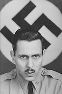 February 10, 1972, Arlington, Virginia. Matt Koehl, the comander of the White National Socialist Party at his desk.