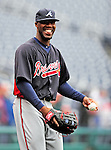 31 March 2011: Atlanta Braves right fielder Jason Heyward warms up prior to the Opening Day festivities and game against the Washington Nationals at Nationals Park in Washington, District of Columbia. The Braves shut out the Nationals 2-0 to open the 2011 Major League Baseball season. Mandatory Credit: Ed Wolfstein Photo
