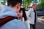 Tha last draft. Kasia Lukasiak is saying last farewell words to her husband Bartosz Lukasiak before he enters the closed military zone in Warsaw, Poland, June 2008.<br /> (Photo by Piotr Malecki / Napo Images<br /> <br /> Ostatni pobor.<br /> Pozegnanie Bartosza Lukasiaka przed jednostka w Warszawie. n/z jego zona Kasia.<br /> Warszawa 6/2008<br /> Fot: Piotr Malecki / Napo Images