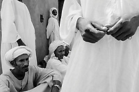 Mastariya, North Darfur, August 13, 2004.The village men after their Friday prayer; they are Arabs from the Rezeghat tribe, most of them are enlisted in Janjaweed militia after Musa Hillal, their Sheikh, gave full support to the Khartoum government allegedly to fight the SLA rebels.