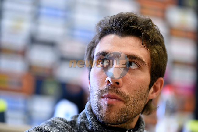 Thibaut Pinot (FRA) FDJ at the top riders press conference on the eve of the race of the two seas, 52nd Tirreno-Adriatico by NamedSport running from the 8th to 14th March, Italy. 7th March 2017.<br /> Picture: La Presse/Fabio Ferrari | Cyclefile<br /> <br /> <br /> All photos usage must carry mandatory copyright credit (&copy; Cyclefile | La Presse)