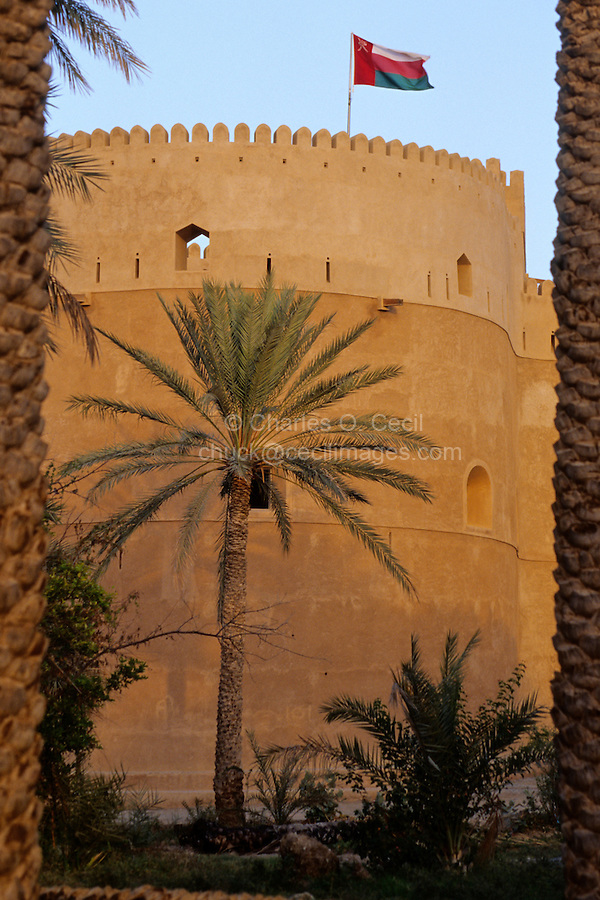 Rustaq, Oman, Arabian Peninsula, Middle East - Rustaq Fort, Omani Flag.