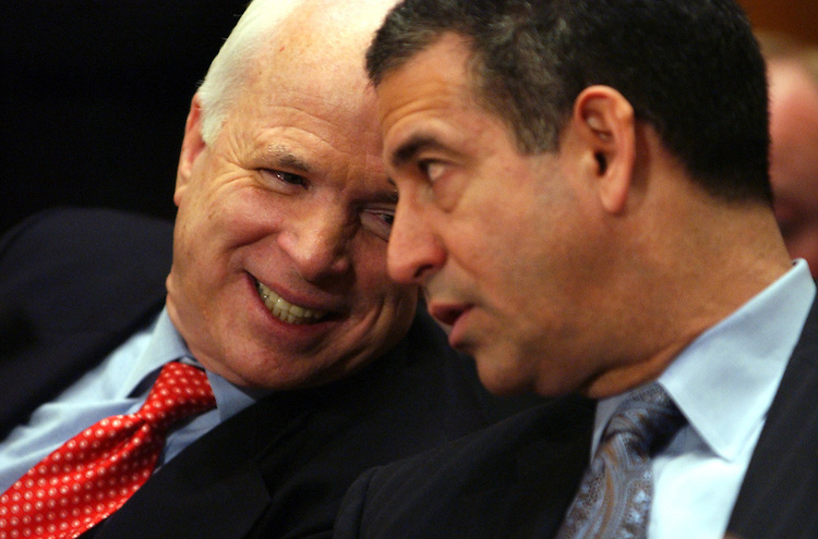 "Sen. John McCain, R-Ariz., left, speaks with Sen. Russ Feingold, D-Wis., as they sit on a panel of Senators at a hearing entitled ""Lobbying Reform: Proposals and Issues.""  Sens. Rick Santorum, R-Pa., Dick Durbin, D-Ill., and Norm Coleman, R-Minn., also offered their views on lobbying and money has encroached on politics.Sen. John McCain, R-Ariz., left, speaks with Sen. Russ Feingold, D-Wis., as they sit on a panel of Senators at a hearing entitled ""Lobbying Reform: Proposals and Issues.""  Sens. Rick Santorum, R-Pa., Dick Durbin, D-Ill., and Norm Coleman, R-Minn., also offered their views on lobbying and how money has encroached on politics."