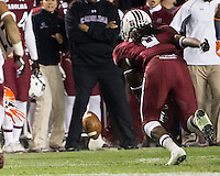 The tenth ranked South Carolina Gamecocks host the 6th ranked Clemson Tigers at Williams-Brice Stadium in Columbia, South Carolina.  USC won 31-17 for their fifth straight win over Clemson.  Clemson Tigers wide receiver Adam Humphries (13) fumbles during his kick return.