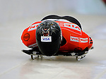 14 December 2007: Paul Boehm, racing for Canada, starts his first run at the FIBT World Cup Skeleton Competition at the Olympic Sports Complex on Mount Van Hovenberg, at Lake Placid, New York, USA...Mandatory Photo Credit: Ed Wolfstein Photo