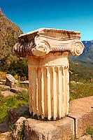 Ionic Coloumn. Delphi, archaeological site, Greece,