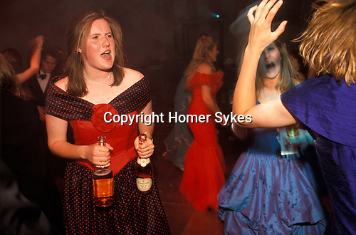 "Cirencester Royal Agricultural College annual end of year dance Gloucestershire England. Circa 1985. ""Girls in red and blue,pink Champagne."""
