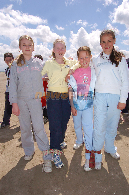 Alison Martin, Lisa Sherlock, Nadia Borwick and Amy reilly taking part in the three Leged race in Laytown N.S. Sports day.Photo Fran Caffrey Newsfile.ie..This Picture has been sent to you by Newsfile Ltd..The Studio,.Millmount Abbey,.Drogheda,.Co. Meath,.Ireland..Tel: +353(0)41-9871240.Fax: +353(0)41-9871260.ISDN: +353(0)41-9871010.www.newsfile.ie..general email: pictures@newsfile.ie