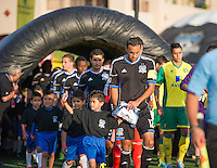 SANTA CLARA, CA - Saturday July 20, 2013: San Jose Earthquakes vs Norwich City F.C. Canaries match in Buck Shaw Stadium in Santa Clara, CA. Final score SJ Earthquakes 1, Norwich City F.C. Canaries 0.