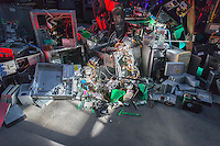 The Digital Being Installation by the artist Taezoo Park during an open house at the Lower East Side Ecology Center's Gowanus Brooklyn e-waste warehouse on Friday, February 20, 2015. The sculpture is constructed of broken and discarded electronics representing our love affair with these machines. The Lower East Side Ecology Center hosts recycling events throughout the city, and runs its permanent e-waste recycling location in the Gowanus neighborhood of Brooklyn. (© Richard B. Levine)