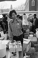 New Haven, CT. May 2nd 1970 Yale University.<br /> A member of the Black Panthers sells books written by party cofounder Bobby Seale at Yale University. Students and demonstrators from around the US have gathered at Yale University in support of the Black Panther Party while several party leaders, including cofounder Bobby Seale, are on trial.