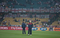 The USA's Michael Bradley check out the pitch of Royal Bafokeng Stadium before the start of the 2010 World Cup first round match between the United States of America and England in Rustenberg, South Africa on Saturday, June 12, 2010.