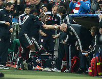 FUSSBALL   CHAMPIONS LEAGUE   SAISON 2012/2013   GRUPPENPHASE   FC Bayern Muenchen - LOSC Lille                          07.11.2012 Jubel nach dem Tor mit David Alaba und Bastian Schweinsteiger (v. li., FC Bayern Muenchen)