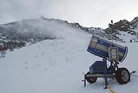 Switzerland. State of Ticino. Airolo. Snow cannon on the Peschün ski resort. © 2005 Didier Ruef