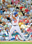 12 March 2008: Los Angeles Dodgers' infielder Ivan DeJesus at  bat during a Spring Training game against the Washington Nationals at Holman Stadium, in Vero Beach, Florida. The Nationals defeated the Dodgers 10-4 at the historic Dodgertown ballpark. 2008 marks the final season of Spring Training at Dodgertown for the Dodgers, as the team will move to new training facilities in Arizona starting in 2009 after 60 years in Florida...Mandatory Photo Credit: Ed Wolfstein Photo