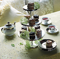 Close up of a selection of scones served on a cake stand for afternoon tea at Pearl Lowe's Hampshire country house