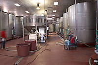 stainless steel tanks one with stirring mechanism bodegas frutos villar , cigales spain castile and leon