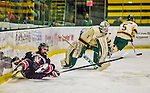 17 December 2013:  Northeastern University Huskies Forward Cody Ferriero, a Senior from Essex, MA, is tripped up by University of Vermont Catamount Goaltender Mike Santaguida, a Freshman from Mississauga, Ontario, in the first period at Gutterson Fieldhouse in Burlington, Vermont. The Huskies shut out the Catamounts 3-0 to end UVM's 5 game winning streak. Mandatory Credit: Ed Wolfstein Photo *** RAW (NEF) Image File Available ***