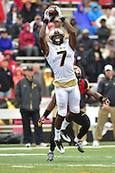 College Park, MD - OCT 1, 2016: Purdue Boilermakers wide receiver DeAngelo Yancey (7) brings in a big catch during game between Maryland and Purdue at Capital One Field at Maryland Stadium in College Park, MD. The Terps got the win 50-7 over visiting Purdue. (Photo by Phil Peters/Media Images International)