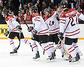 Luke Adam (Canada - 20), Ryan Ellis (Canada - 6), Jake Allen (Canada - 1), Alex Pietrangelo (Canada - 27) - Team Canada defeated Team USA 5-4 (SO) on Thursday, December 31, 2009, at the Credit Union Centre in Saskatoon, Saskatchewan, during the 2010 World Juniors tournament.