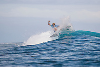 Namotu Island, Fiji (Friday, June 12, 2015) Adrian Buchan (AUS) - Stop No. 5 on the 2015 WSL Championship Tour (CT), the Fiji Pro, commenced today with the world&rsquo;s best surfers tackling building four-to-six foot (1.5 - 2 metre) waves at Cloudbreak for Round 1 of competition.<br /> <br /> Holding a waiting period from June 7 - 19, the 2015 Fiji Pro opened with five consecutive lay days, allowing the world&rsquo;s best surfers to acclimatise to their temporary homes of Tavarua Is. and Namotu Is. as well as re-familiarise themselves with the world-class lefthander of Cloudbreak. The brief pause before action resulted today&rsquo;s explosive Round 1 that bore witness to a number of upsets as well as excellent scores.<br /> Photo: joliphotos.com