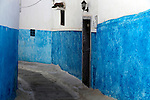 Africa, Morocco, Rabat. Blue and white walls of Kasbah Oudaya, the old city of Rabat.