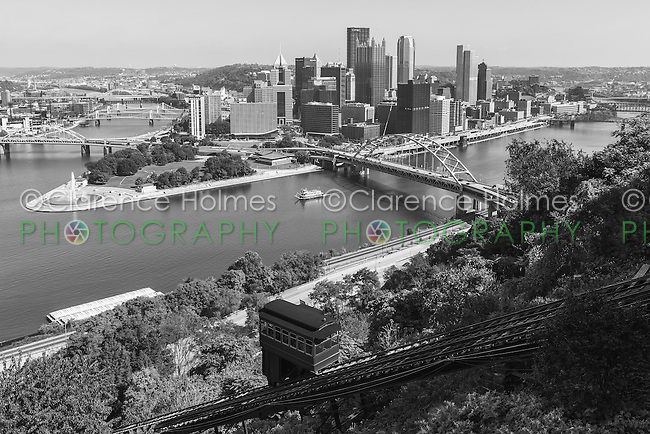 The Duquesne incline descends from Mt. Washington, with the skyline in the background in Pittsburgh, Pennsylvania.