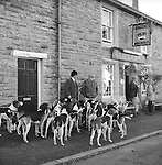 The Blencathra Foxhounds. Barry Todhunter manages the hounds outside The Old Crown while many supporters meet inside to sample the locally brewed beers: Helvellyn Gold, Skiddaw Special Bitter, Blencathra Bitter, Old Carrocks Strong Ale, or perhaps, Doris 90th Birthday Ale. Hesket Newmarket, Cumbria..Hunting with Hounds / Mansion Editions (isbn 0-9542233-1-4) copyright Homer Sykes. +44 (0) 20-8542-7083. &lt; www.mansioneditions.com &gt;