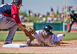 14 March 2014: Detroit Tigers infielder Eugenio Suarez is caught off first by Brock Peterson during a Spring Training Game against the Washington Nationals at Joker Marchant Stadium in Lakeland, Florida. The Tigers defeated the Nationals 12-6 in Grapefruit League play. Mandatory Credit: Ed Wolfstein Photo *** RAW (NEF) Image File Available ***