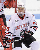 Mike Hewkin (Northeastern - 28) - The Northeastern University Huskies defeated the visiting Providence College Friars 5-0 on Saturday, November 20, 2010, at Matthews Arena in Boston, Massachusetts.