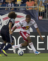New York Red Bulls forward Juan Agudelo (17) dribbles. In a Major League Soccer (MLS) match, the New England Revolution tied New York Red Bulls, 2-2, at Gillette Stadium on August 20, 2011.