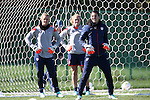 14 October 2014: U.S. goalkeeper Hope Solo (right) with backups Ashlyn Harris (left) and Alyssa Naeher (center). The United States Women's National Team held a training session on the stadium field at Swope Park Soccer Village in Kansas City, Missouri in preparation for the CONCACAF Women's World Cup Qualifying Tournament for the 2015 Women's World Cup in Canada.