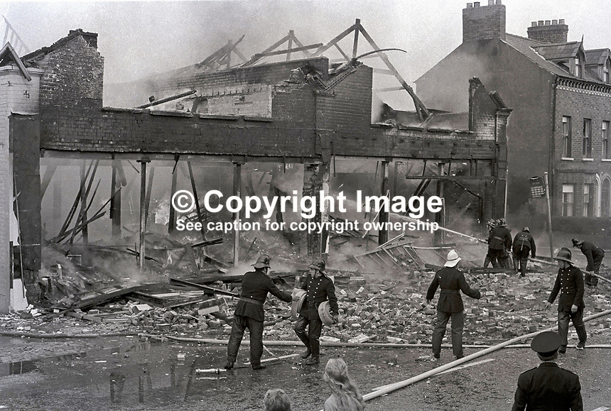 IRA explosion followed by a fire at Smyth & McClure's supermarket, Lisburn Road, Belfast, N Ireland. Firemen hose down the flames. 197303080043b..Copyright Image from Victor Patterson, 54 Dorchester Park, Belfast, UK, BT9 6RJ..Tel: +44 28 9066 1296.Mob: +44 7802 353836.Voicemail +44 20 8816 7153.Skype: victorpattersonbelfast.Email: victorpatterson@mac.com.Email: victorpatterson@ireland.com (back-up)..IMPORTANT: If you wish to use this image or any other of my images please go to www.victorpatterson.com and click on the Terms & Conditions. Then contact me by email or phone with the reference number(s) of the image(s) concerned.