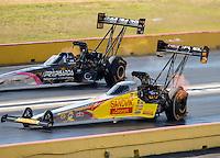 Oct 16, 2016; Ennis, TX, USA; NHRA top fuel driver Shawn Langdon (near) alongside Larry Dixon during the Fall Nationals at Texas Motorplex. Mandatory Credit: Mark J. Rebilas-USA TODAY Sports