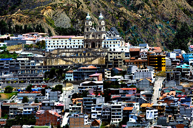 The church of San Francisco de la Virgen de las Nubes watches over the city of Azogues, Ecuador, the capital of Canar Province and 31 km north of Cuenca.